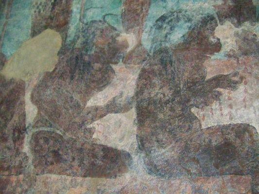 prisoners of the third room of Temple of Murals, Bonampak, Chiapas, Mexico