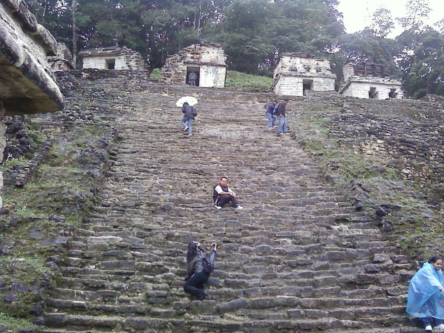 steps up to the Bonampak Temple of the Murals