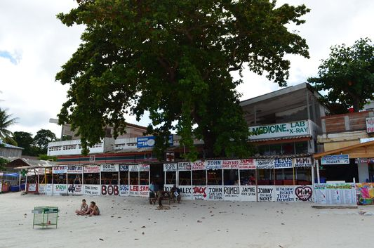 Haad Rin Nok bucket stalls on Ko Phangan