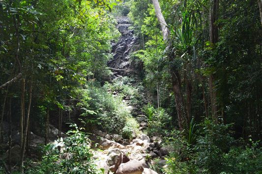 Phaeng waterfall without water on Koh Phangan island