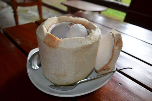 Phangan home-made ice cream in a coconut on Ko Phangan