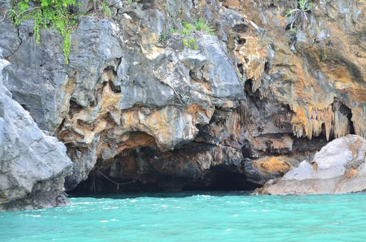 a cave of Koh Pee island seen when kayaking in Angthong National Park