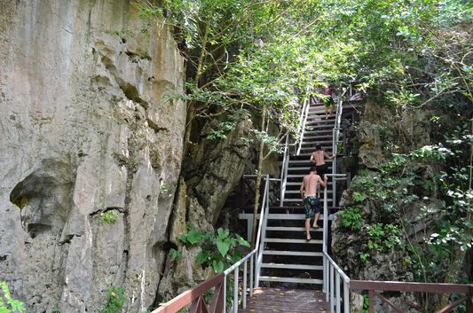 climbing the steps to the viewpoint of Koh Mae Ko in Angthong National Park