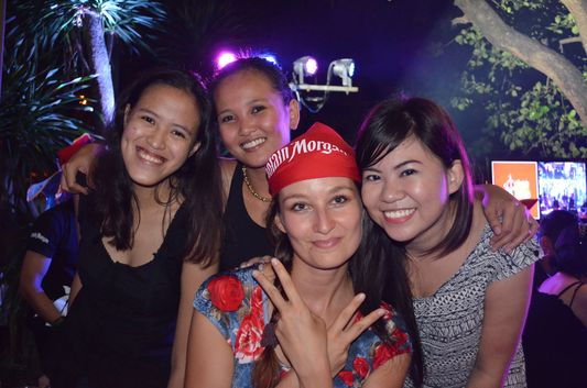 crazy sexy fun traveler with Mica, Lauren and Monette at Captain Morgan party in Manila
