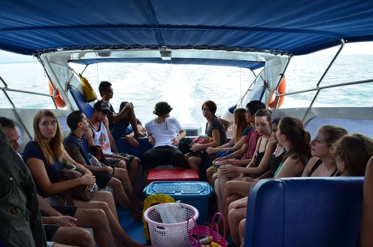 on a safari boat going to Angthong Marine National Park