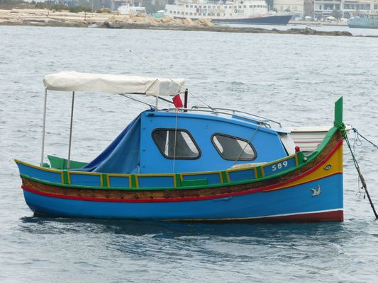 traditional colourful boats of Malta