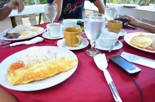 American breakfast in the President Hotel, Dagupan, Pangasinan, Philippines;
