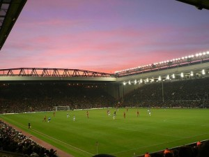 Anfield in Liverpool in England
