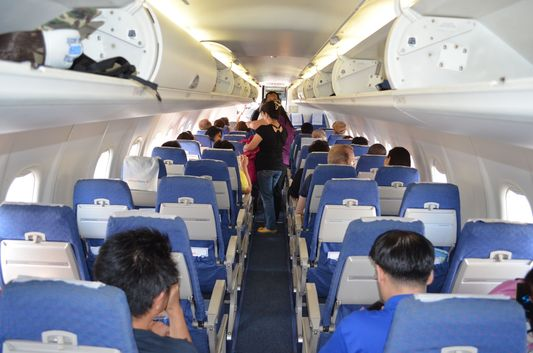 Q300 Air Phil Express airplane from the inside from Cebu to Caticlan - Boracay