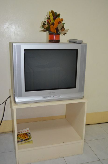 TV in Ramos suite, number 125, the President Hotel, Dagupan, Pangasinan, Luzon, Philippines;