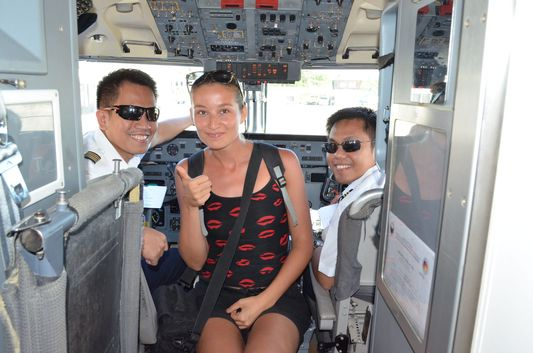 crazy sexy fun traveler with pilots of Air Phil Express flight of 2P 259 from Cebu to Caticlan