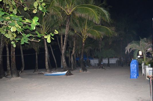 empty beach on Boracay island during the night party life