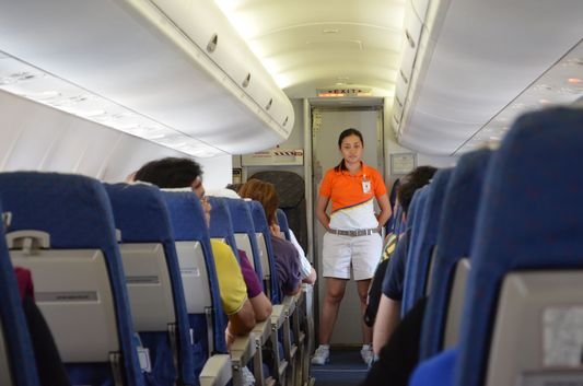 stewardess Angel doing the safety demonstration on Air Phil Express 2P 259 flight from Cebu to Caticlan - Boracay