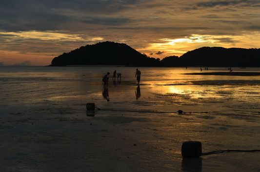 sunset at Cenang beach on Langkawi island in Malaysia