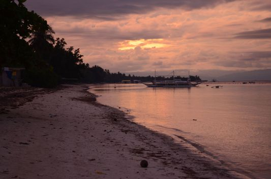 sunset at Doljo beach on Bohol island in Philippines