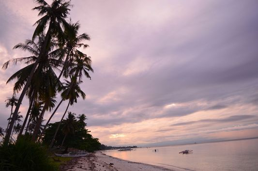 sunset at Doljo beach on Panglao on Bohol in Philippines