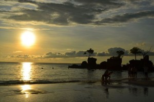sunset at White beach on Boracay in Philippines