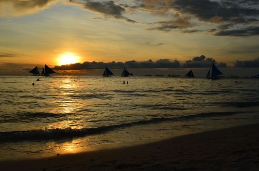 sunset at White beach on Boracay island