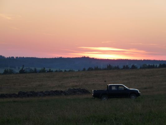 sunset at fields in Bozetin village in Czech republic