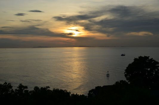 sunset from Leela beach on Koh Phangan in Thailand
