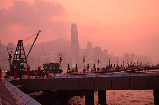sunset in Hong Kong from Lantau island