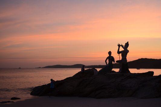 sunset on Koh Samet island in Thailand