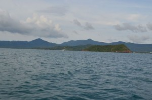 the view of Koh Phangan on the horizon island from the sea