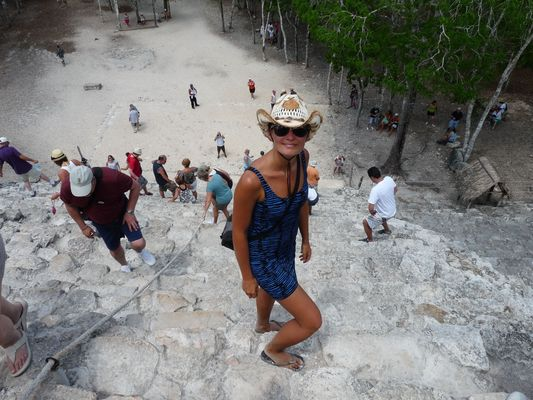 the view of the jungle of the top of Nohoch Mul pyramid in Coba ruins in Mexico