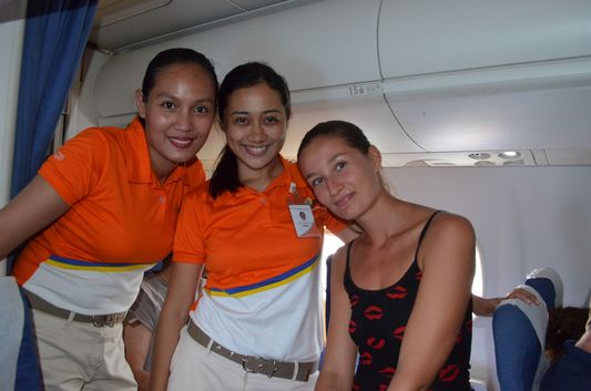 with cabin crew Grace and Angel on Q300 Air Phil Express from Cebu to Caticlan