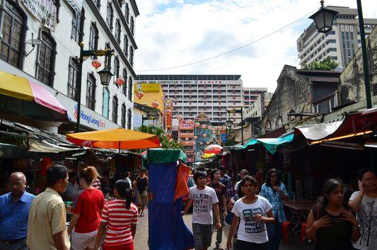 Chinatown full streets in Kuala Lumpur