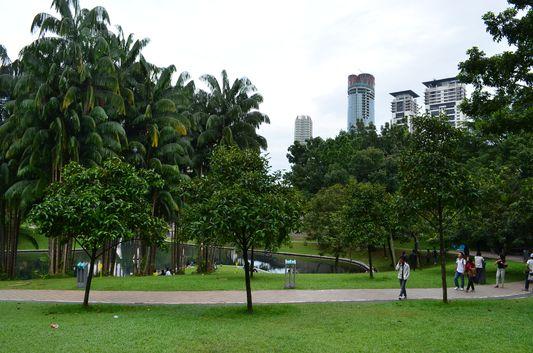 KLCC Park behind Petronas Twin Towers in Kuala Lumpur