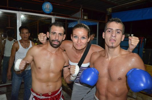 crazy sexy fun traveler with Thai boxers