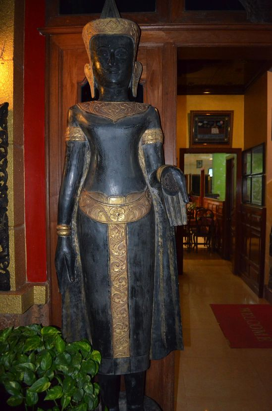 decorative statues in Mandalay Inn hotel in Siem Reap