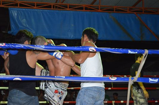exercise before the Thai boxing match on Koh Phangan