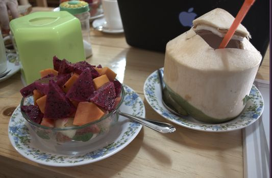 fresh fruit and coconut in a restaurant with wifi in Chiang Mai