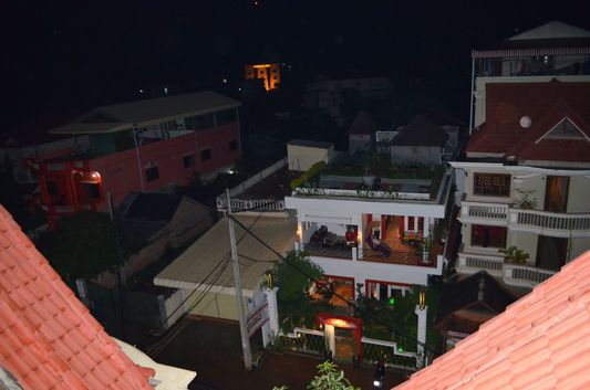 night view from roof top gym of Mandalay Inn hotel
