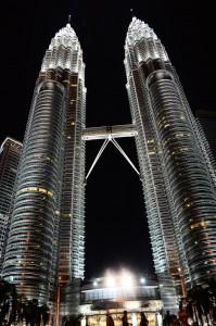 night view of Petronas Twin Towers in Kuala Lumpur