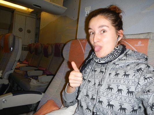 on board Emirates flight from Prague to Dubai
