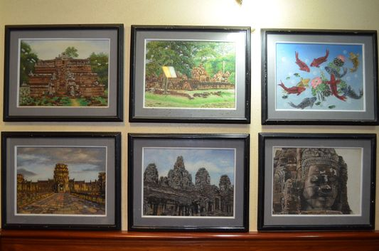 photos of Angkor Wat in Mandalay Inn restaurant