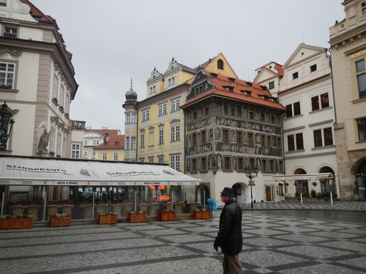 raining at Old Town Square in Prague