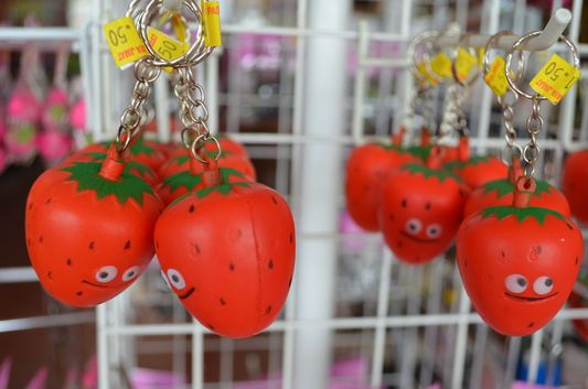 strawberry key rings in Strawberry Farm in Cameron Highlands