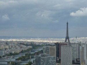 views of Eiffel Tower from the Air Balloon in Paris