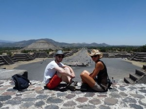 with a German friend in Teotihuacan