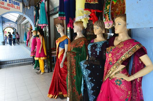 Indian dresses in Little India in Old Town of Ipoh