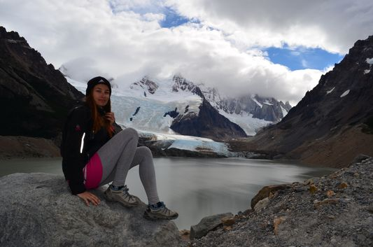 at Mirador Maestri overlooking Laguna Torre, Glacier Grande and Cerro Torre covered with clouds