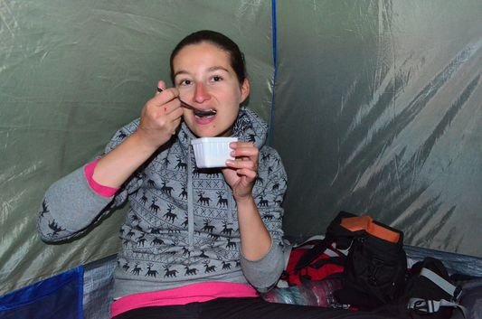 eating oats in the tent in Camping Las Torres