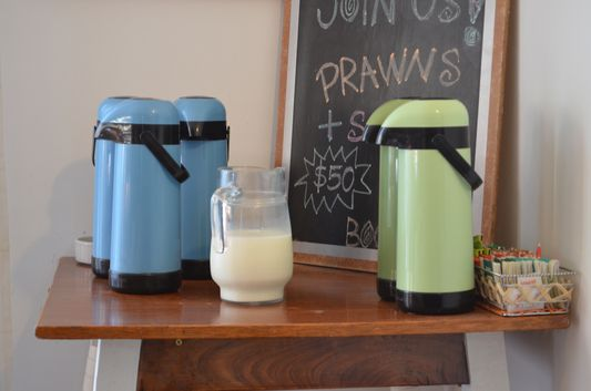 milk, coffee and tea for breakfast in Hi Patagonia Hostel