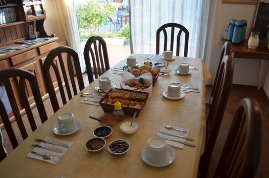 tasty breakfast in Hi Patagonia Hostel