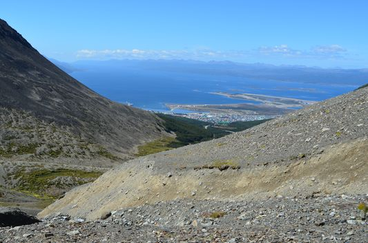 view of Ushuaia town from Glacier Martial