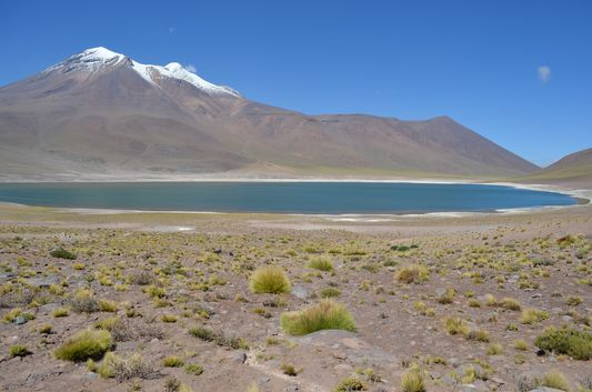 Miñiques lagoon with Miñiques volcano